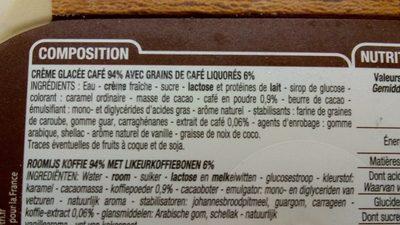 Crème Glacée, Café, 1 Litre, Marque Cora - Ingrédients