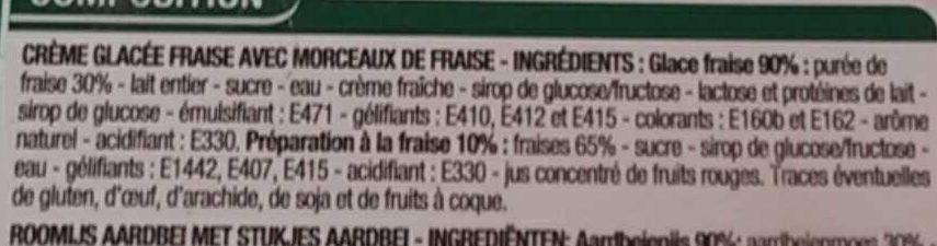 Crème glacée Fraise - Ingrédients