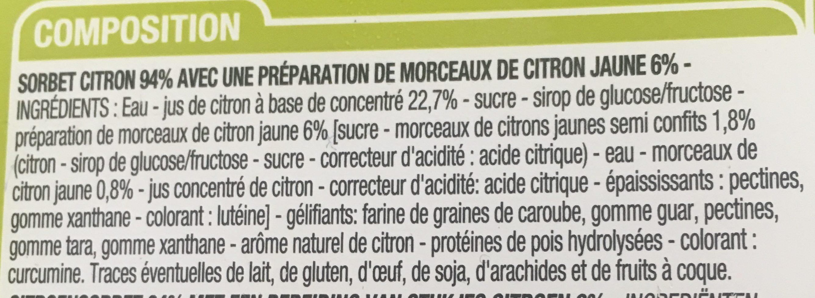 Sorbet Citron 1 Litre 1 Litre - Ingrediënten