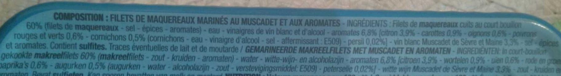 Filets de maquereaux marines au muscadet - Ingrédients - fr