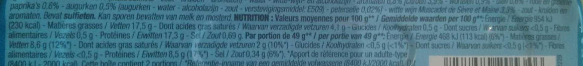 Filets de maquereaux marines au muscadet - Informations nutritionnelles - fr