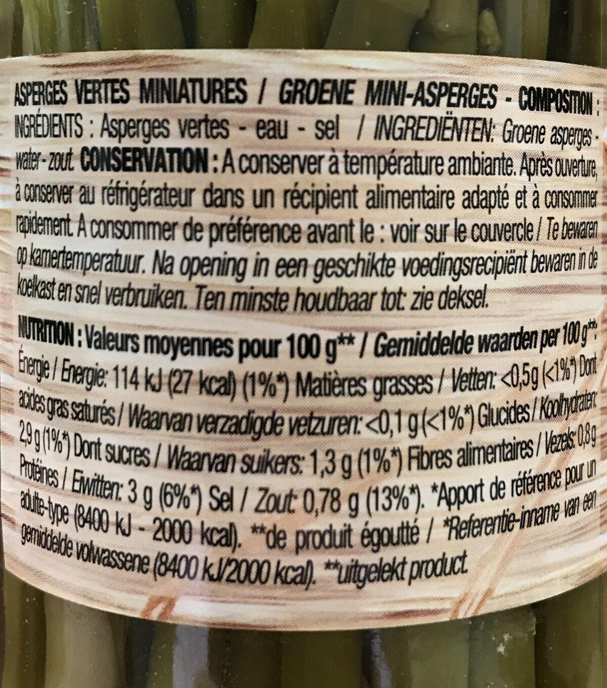 Asperges Vertes Mini - Ingrediënten