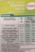 6 Barres Céréales Pomme Verte - Informations nutritionnelles