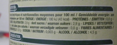 Cidre bouché de Normandie Brut Cora - Informations nutritionnelles
