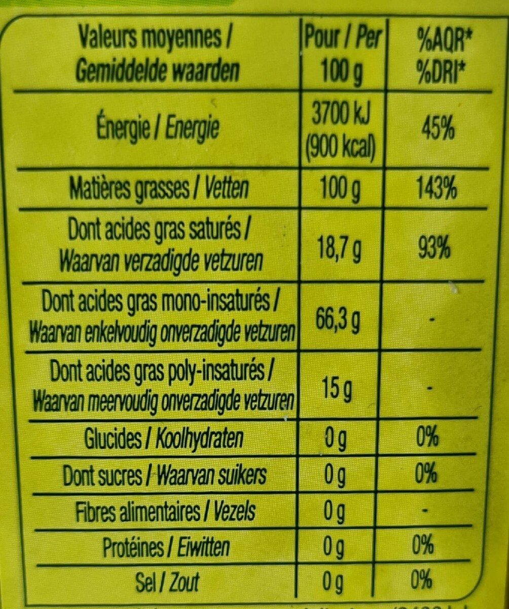 Huile olive vierge extraite a froid - Nutrition facts - fr