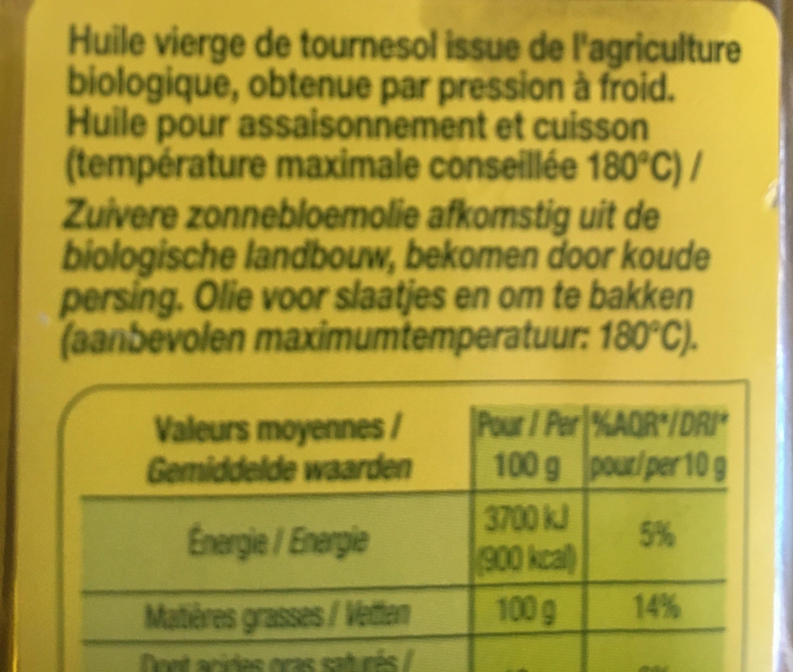 Huile Vierge De Tournesol - Derniers Stocks - Ingredients - fr