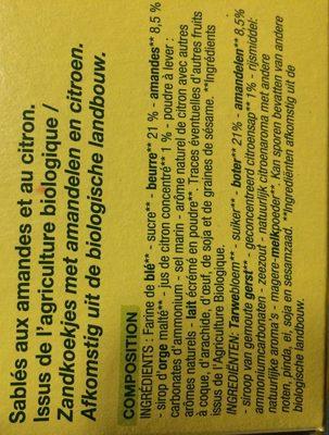 Nature Bio Sablés Amandes Citron - Ingredients - fr