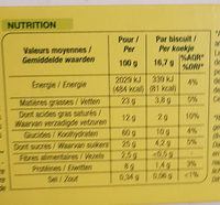 Nature Bio Sablés Amandes Citron - Nutrition facts - fr