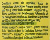 Confiture Extra Myrtille - Derniers Stocks - Ingrédients - fr