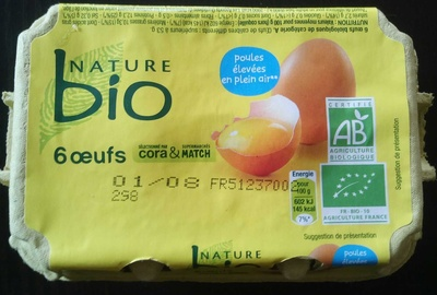Oeufs bio nature x6 - Product - fr