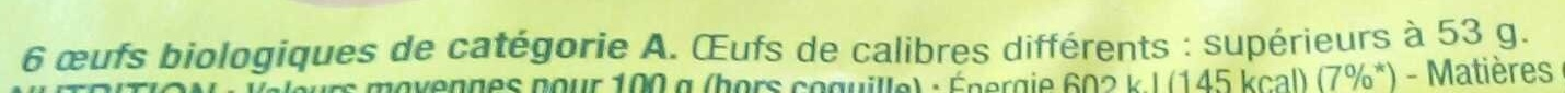 Oeufs bio nature x6 - Ingredients - fr