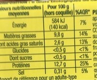 Oeufs bio nature x6 - Nutrition facts - fr
