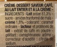 Crème dessert saveur café - Ingrédients - fr