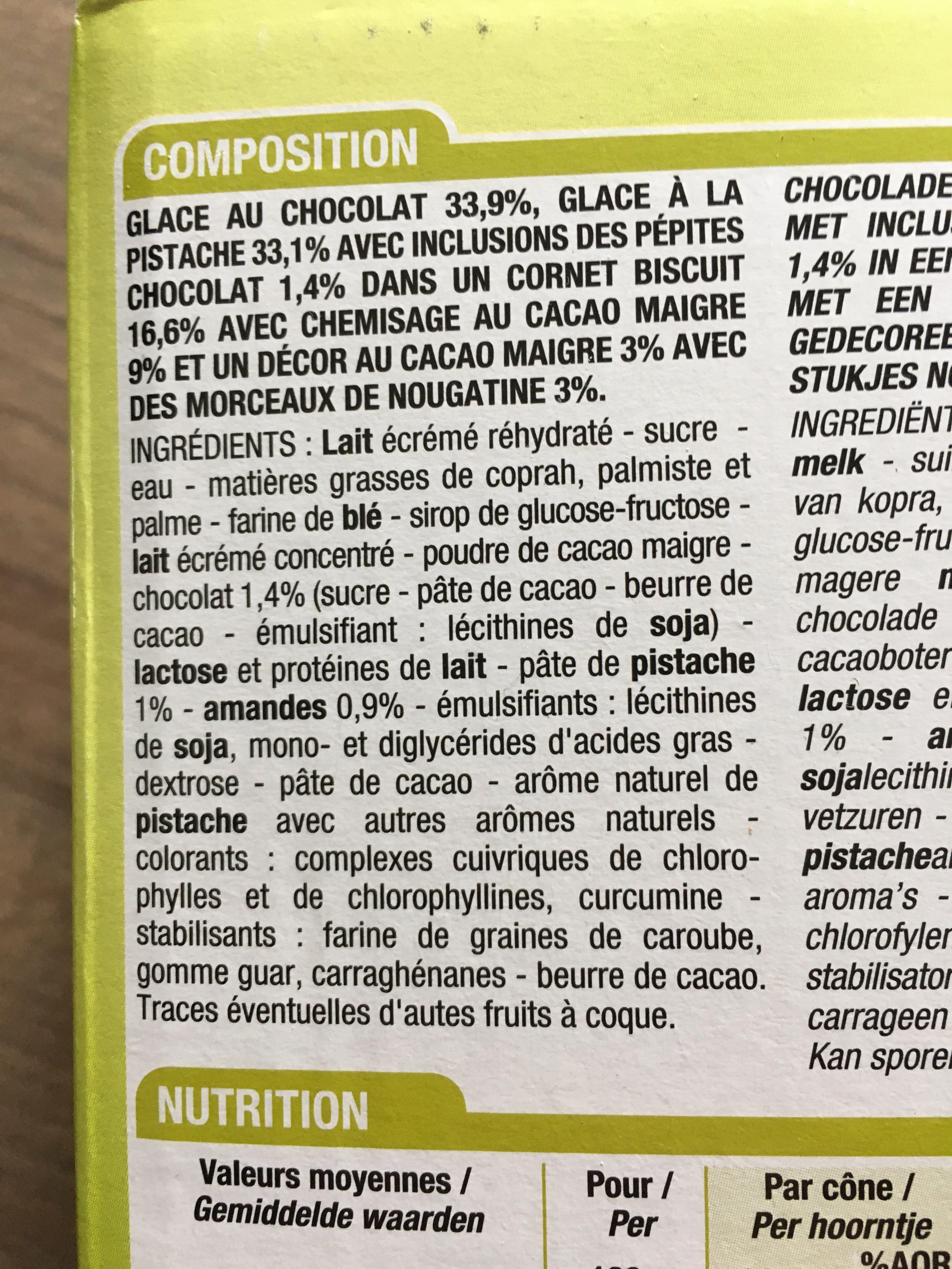 Cônes Chocolat / Pistache Feuilleté 6 Fois 120 Millilitres 6 Fois 120 Millilitres - Ingredients