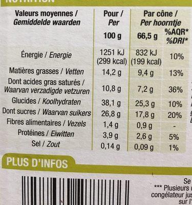 Cônes Chocolat / Pistache Feuilleté 6 Fois 120 Millilitres 6 Fois 120 Millilitres - Nutrition facts