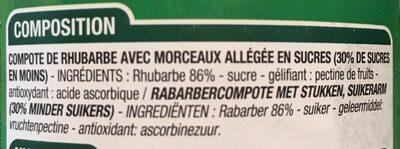 Compote Rhubarbe Morceaux - Ingredients
