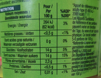 Compote Rhubarbe Morceaux - Nutrition facts