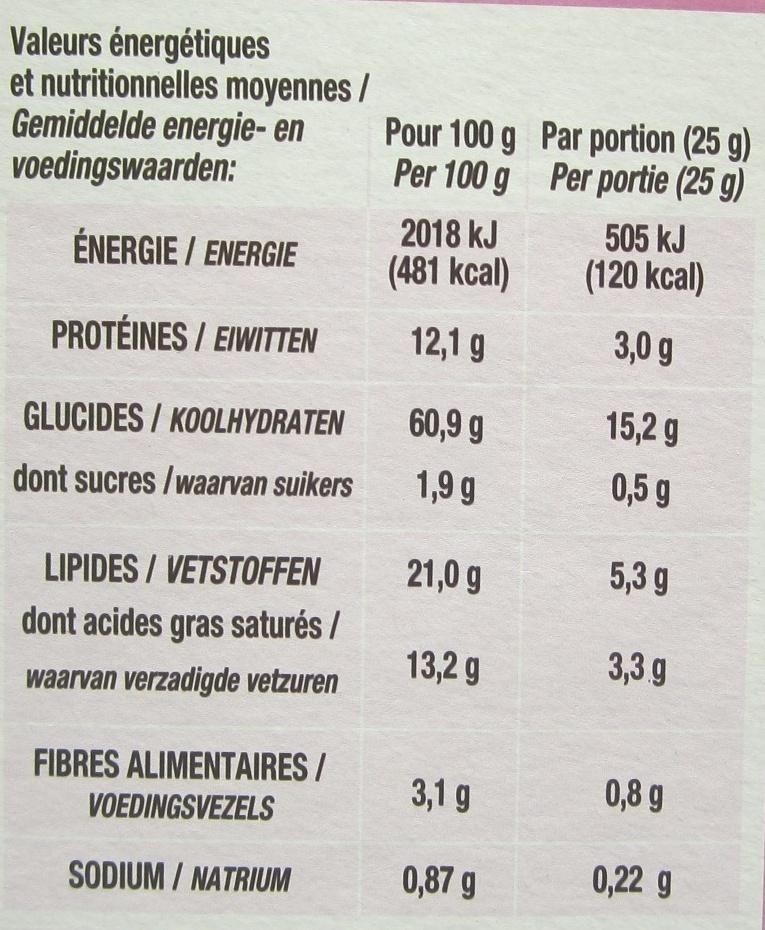 Mini flûtes assortiment emmental, sésame, salées, tomate origan - Nutrition facts - fr