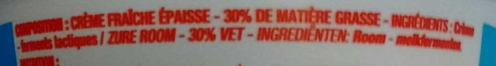 Crème fraîche Épaisse (30 % MG) - Ingrédients - fr