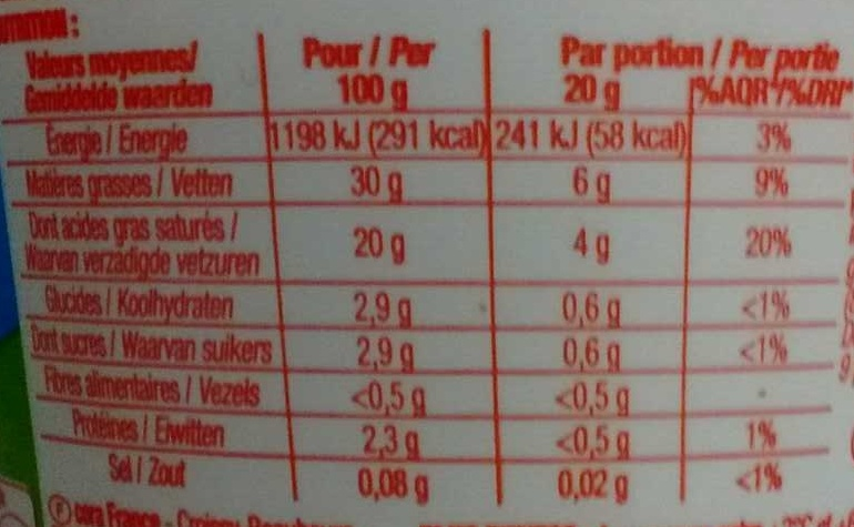 Crème fraîche Épaisse (30 % MG) - Informations nutritionnelles - fr