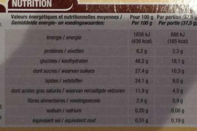 Marbré au chocolat - Voedingswaarden