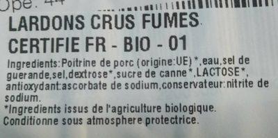 Lardons Fumés bio - Ingredients