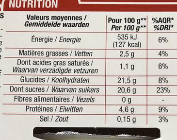 Île flottante sur crème anglaise - Nutrition facts