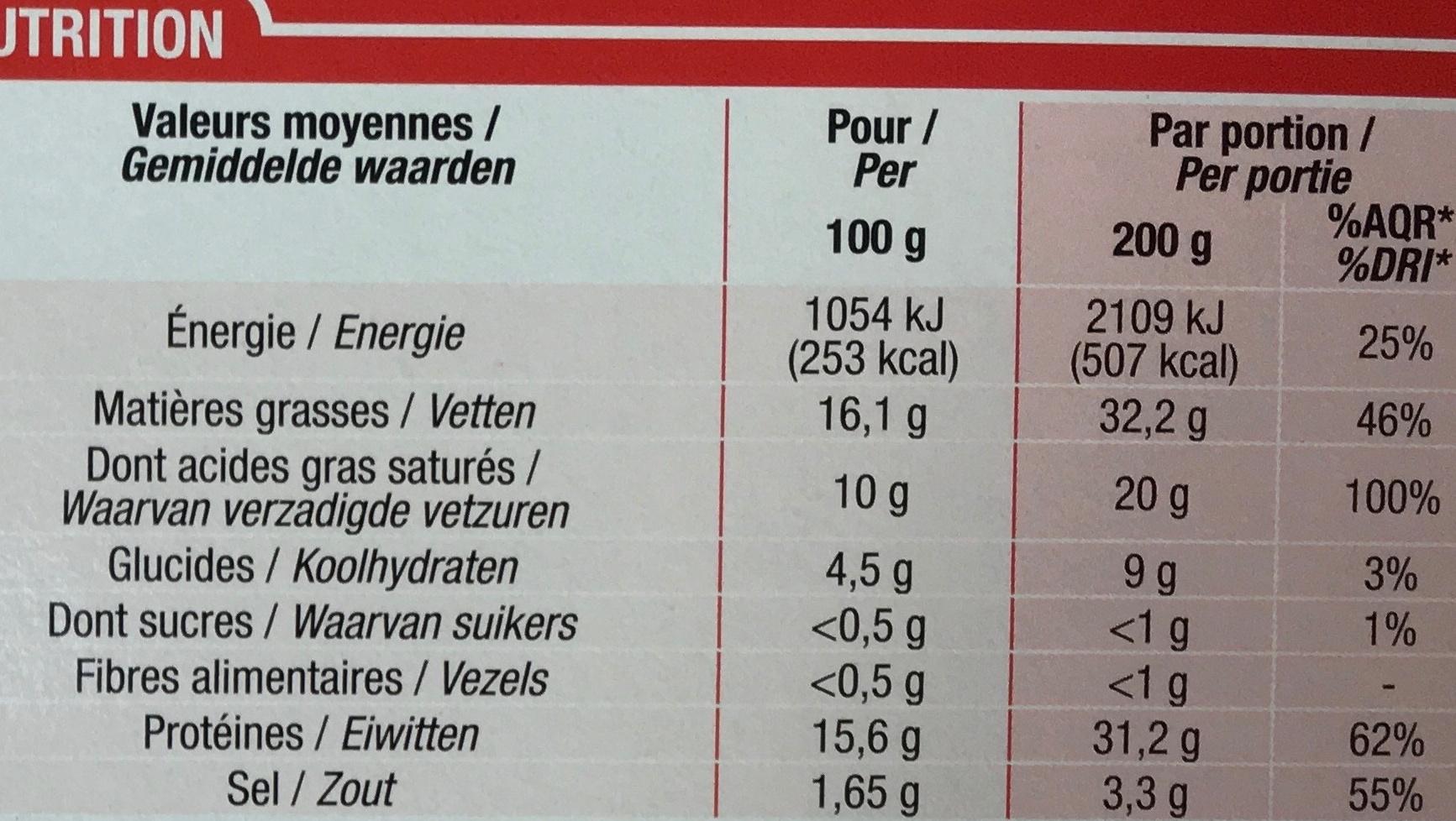 Fondue Suisse Emmental et Gruyère au Vin Blanc (16,5% MG) - Informations nutritionnelles - fr