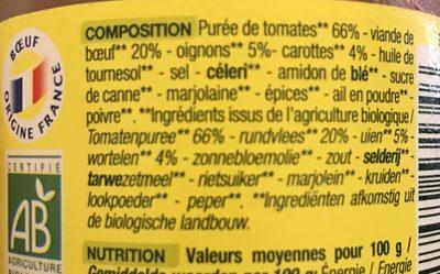 Sauce Tomate Bolognaise - Derniers Stocks - Ingredients - fr