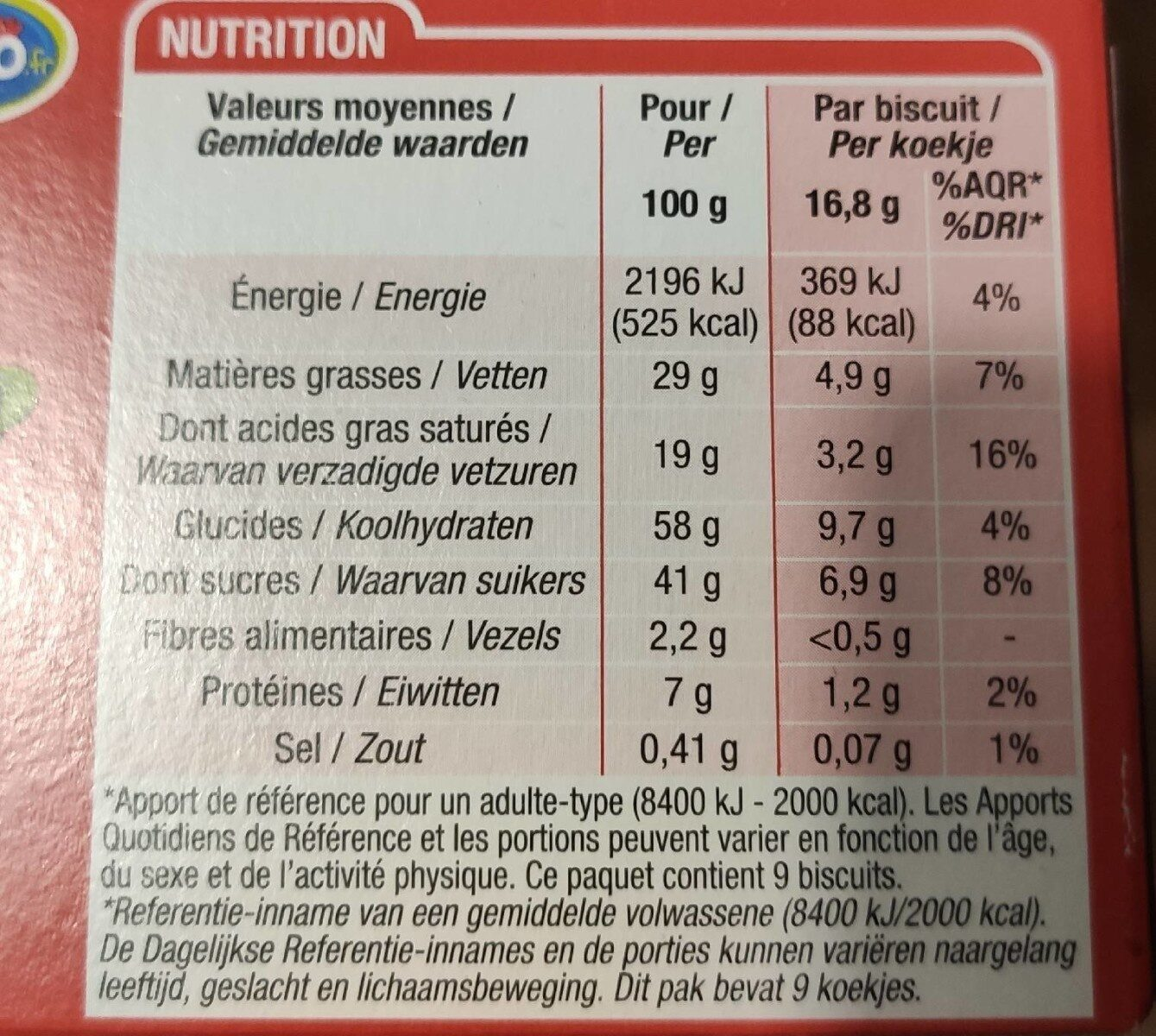 Choco & lait - Nutrition facts - fr