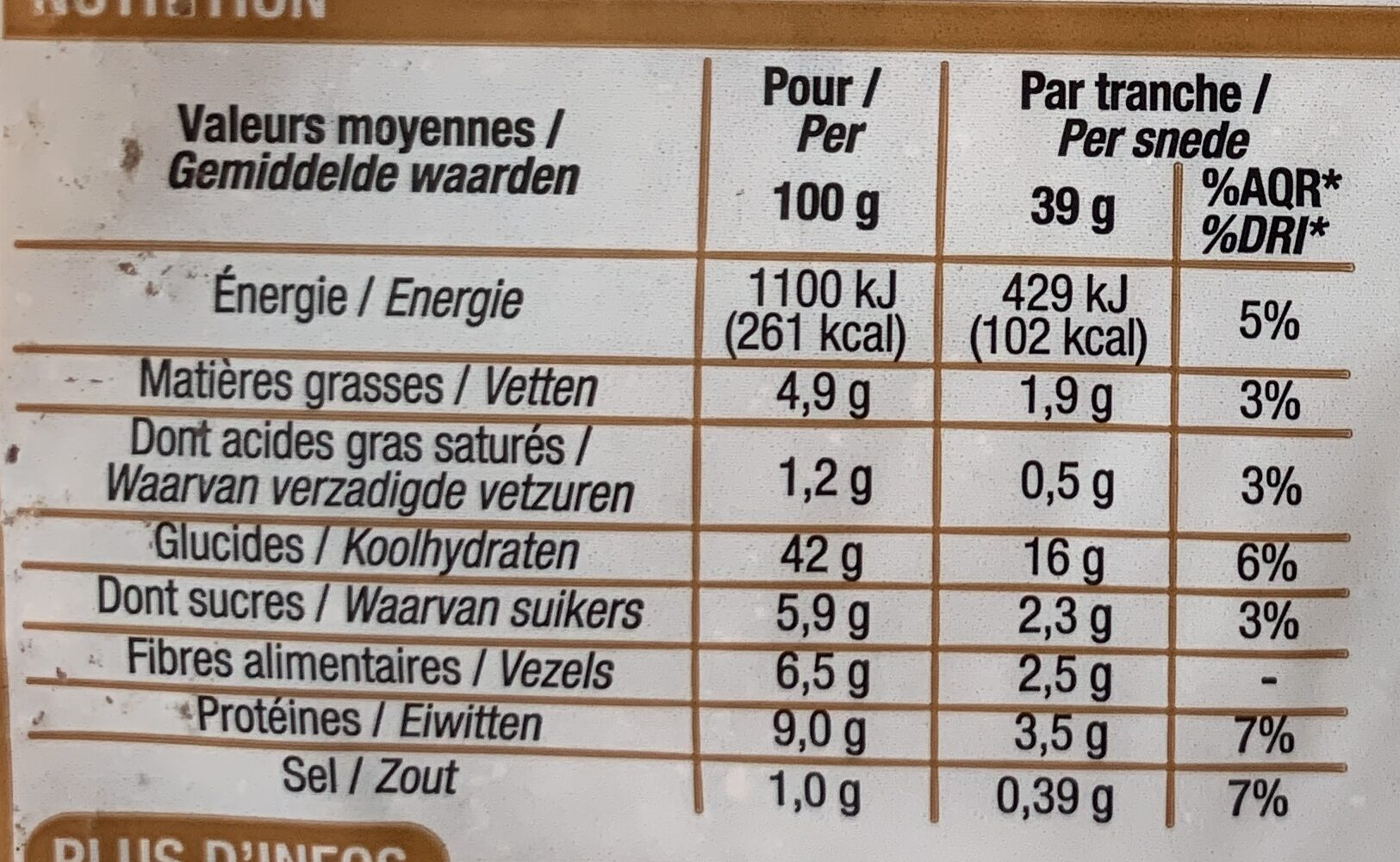 Spécial Sandwich Complet - Valori nutrizionali - fr