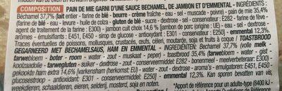 Croque monsieur a la - Ingrédients - fr