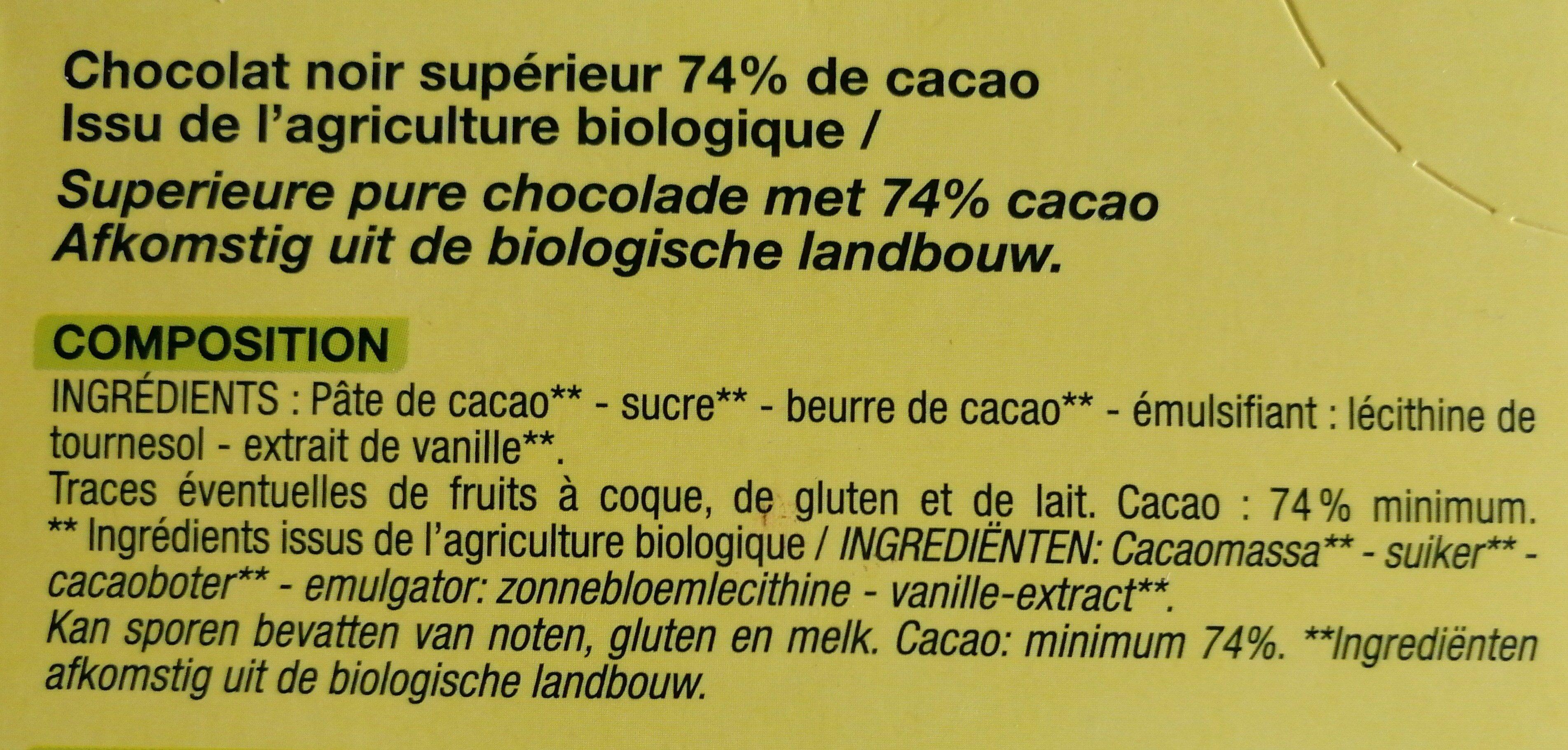Chocolat noir nature bio - Ingredients - fr