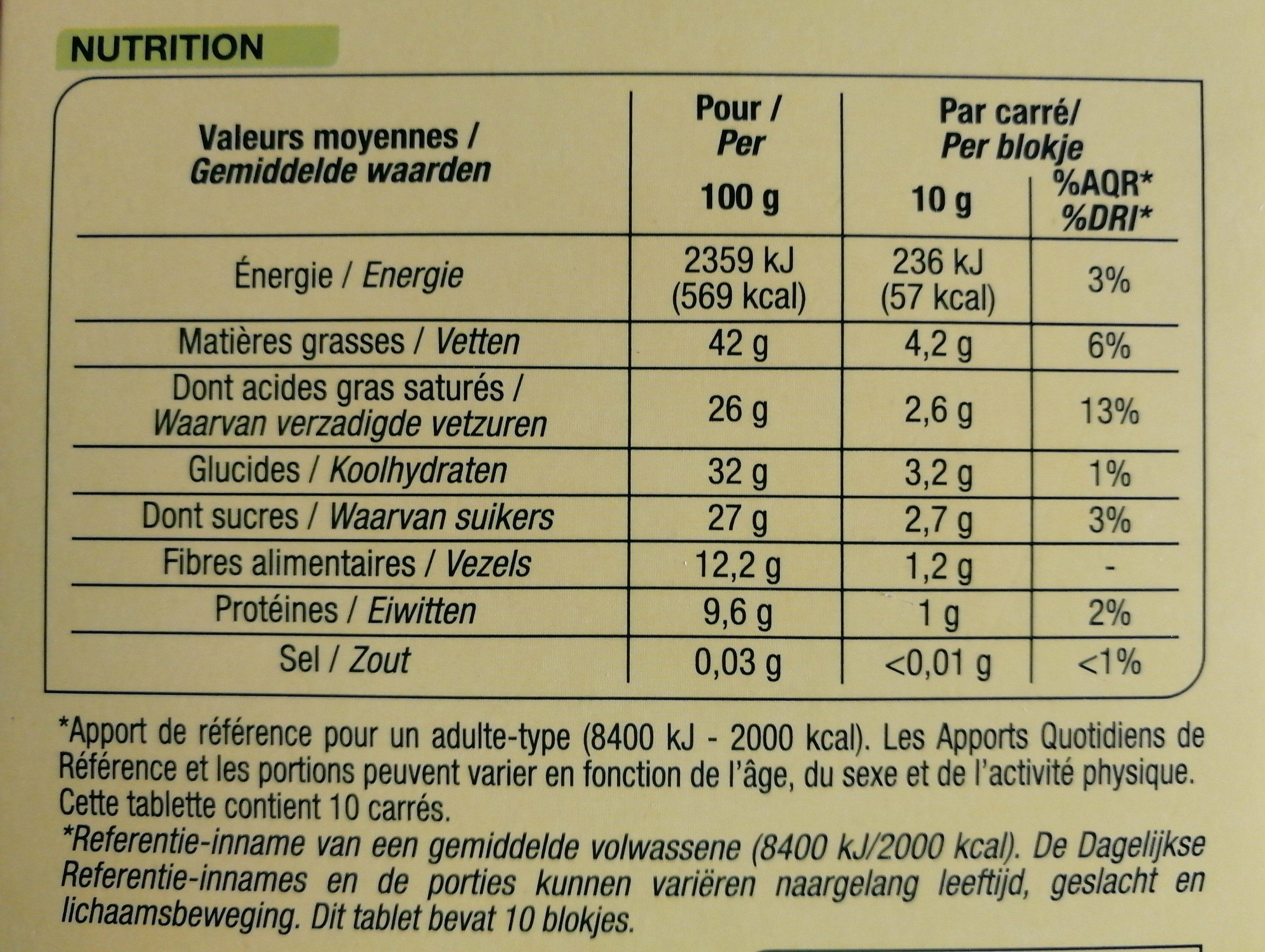 Chocolat noir nature bio - Nutrition facts - fr