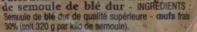 Spaetzle - Ingrediënten - fr
