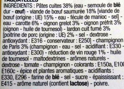 Bœuf Bourguignon aux Tagliatelles - Ingrediënten - fr