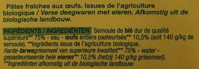 Tagliatelle Aux Oeufs Nature Bio 250 Grammes - Ingredients