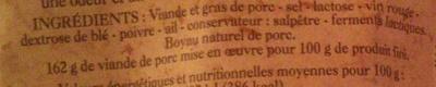 Saucisson Sec d\'Ardèche - Ingrédients - fr
