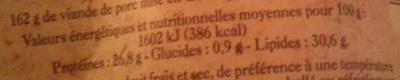 Saucisson Sec d\'Ardèche - Informations nutritionnelles - fr