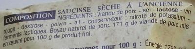 Saucisse sèche d'Ardèche - Ingrédients