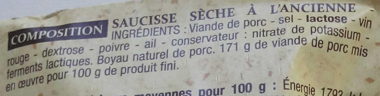 Saucisse sèche d'Ardèche - Ingrédients - fr