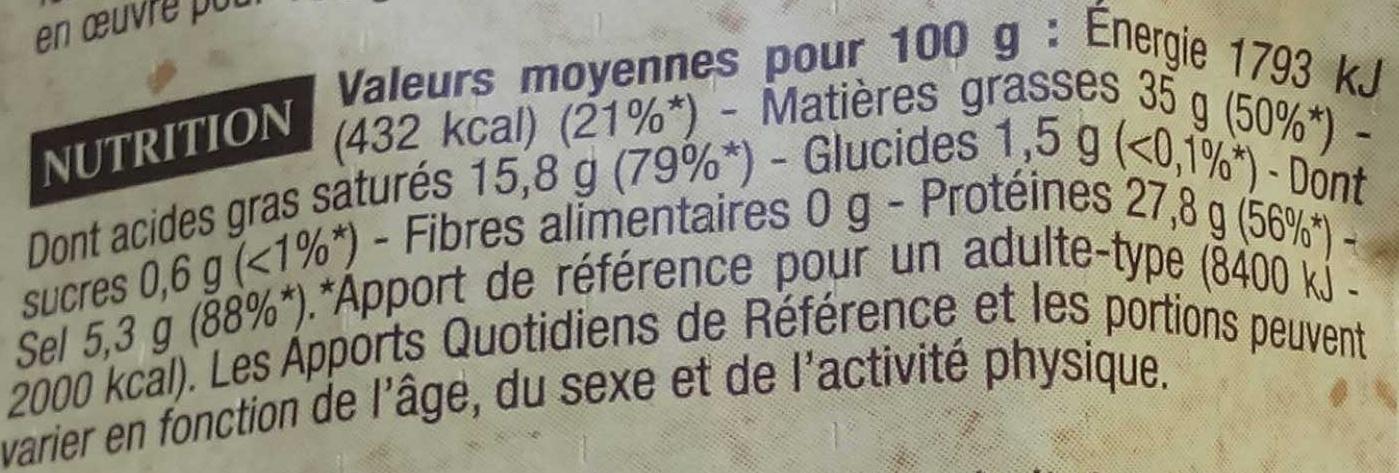 Saucisse sèche d'Ardèche - Informations nutritionnelles - fr