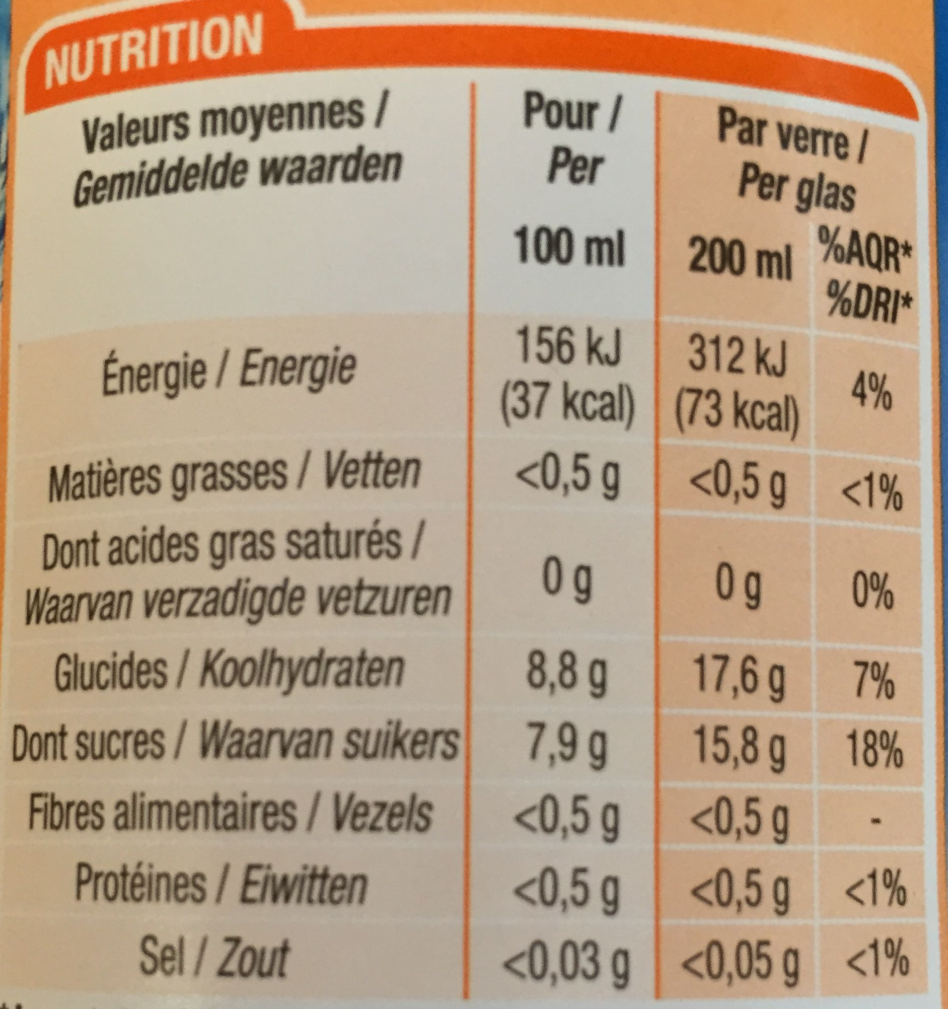 Orange sans bulle - Informations nutritionnelles - fr
