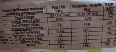 Pâté en croûte cocktail Nature - Voedingswaarden - fr