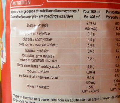 Lait Entier - Informations nutritionnelles
