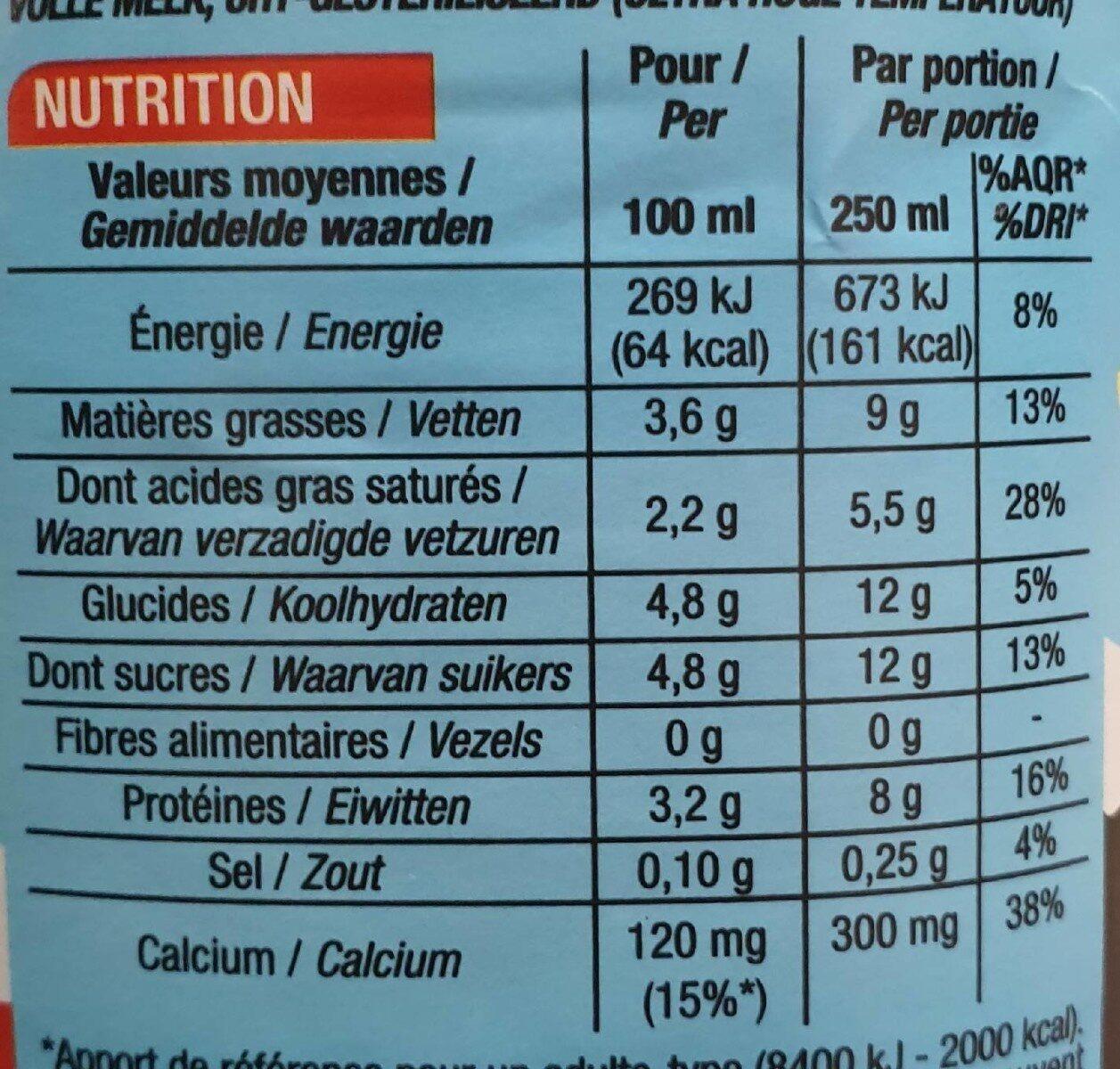 Lait Entier - Informations nutritionnelles - fr