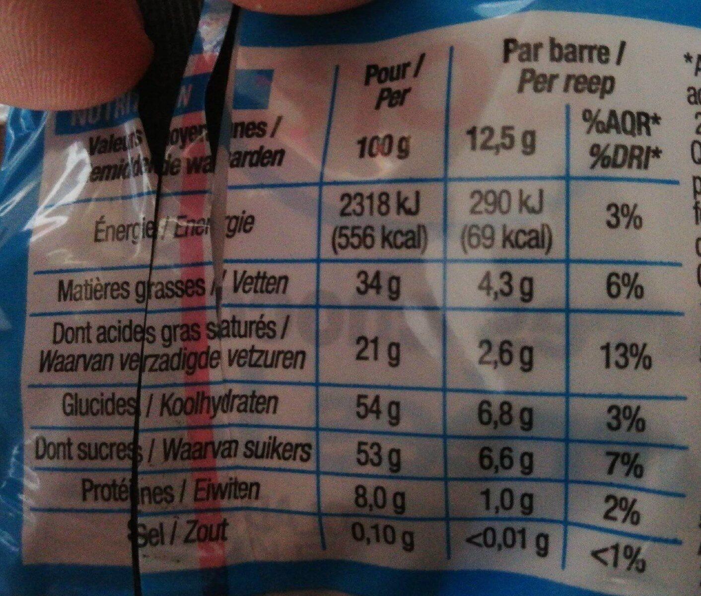 Chocolat - Informations nutritionnelles - fr