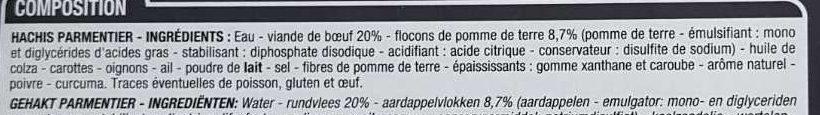 Hachis parmentier pur boeuf - Ingrédients - fr