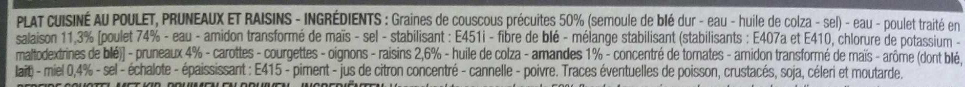Tajine de poulet - Ingrédients - fr
