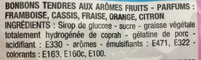 Tendres Goûts Fruits - Ingrédients